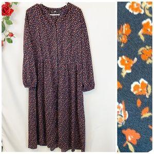 🌼Uniqlo Dark Micro Floral Button Up Maxi Dress